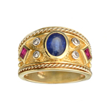 14 KT Yellow Gold 1.06CT Oval Cut Sapphire And 0.26CT 2 Square Cut Rubies With 4 Round Diamonds Ring