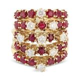 APP: 4.9k *5.98ctw Ruby and 0.89ctw Diamond 14K Yellow Gold Ring (Vault_R9_22977)