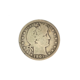 1901 Barber Head Quarter Dollar Coin