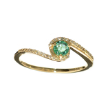 Designer Sebastian 14 KT Gold 0.32CT Emerald and 0.07CT Round Brilliant Cut Diamond Ring