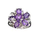 APP: 0.5k Fine Jewelry Designer Sebastian, 2.60CT Oval Cut Amethyst And Sterling Silver Cluster Ring