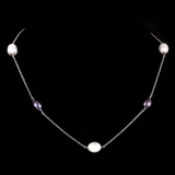 *Fine Jewelry 14 KT White Gold, 8.8GR, 17'' Link Chain With 5 Station Pearls (GL 8.8-6)