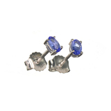 APP: 0.5k Fine Jewelry 0.50CT Oval Cut Tanzanite Over Sterling Silver Earrings
