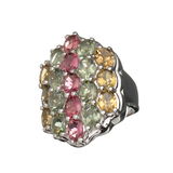 6.36CT Oval Cut Multi-Colored Multi Precious Gemstones And Platinum Over Sterling Silver Ring