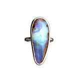 APP: 0.9k Fine Jewelry 9.84CT Free Form Blue-Green  Boulder Brown Opal And Sterling Silver Ring