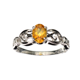 APP: 0.6k Fine Jewelry 0.86CT Oval Cut Citrine Quartz And Platinum Over Sterling Silver Ring