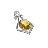 APP: 0.4k Fine Jewelry 2.00CT Oval Cut Citrine/White Sapphire And Sterling Silver Pendant