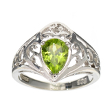APP: 0.5k Fine Jewelry Designer Sebastian, Pear Cut 1.12CT Peridot And Sterling Silver Ring