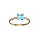 APP: 0.6k Fine Jewelry Designer Sebastian 14 KT Gold, 1.29CT Blue Topaz And Diamond Ring