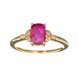 Designer Sebastian 14 KT Gold 1.15CT Cushion Cut Ruby and 0.01CT Round Brilliant Cut Diamond Ring