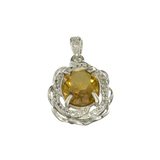 APP: 0.8k Fine Jewelry 2.50CT Oval Cut Citrine/White Sapphire And Sterling Silver Pendant