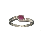 APP: 0.4k Fine Jewelry 0.70CT Round Cut Ruby And White Sapphire Sterling Silver Ring