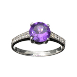 1.040CT Round Cut Purple Amethyst Quartz And Colorless Topaz Platinum Over Sterling Silver Ring