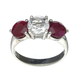 APP: 0.6k Fine Jewelry Designer Sebastian, 3.81CT Ruby And White Topaz Sterling Silver Ring
