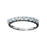 APP: 0.5k Fine Jewelry 0.90CT Round Cut Light Blue Topaz And Platinum Over Sterling Silver Ring