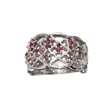 APP: 0.9k Fine Jewelry 0.25CT Round Cut Ruby And Platinum Over Sterling Silver Ring