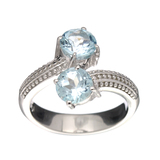 APP: 0.5k Fine Jewelry 2.10CT Round Cut Blue Topaz And Sterling Silver Ring