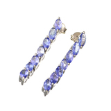 APP: 2.1k Fine Jewelry 3.20CT Marquise Cut Tanzanite And Sterling Silver Errings