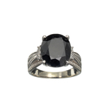 APP: 1.7k Fine Jewelry 6.75CT Dark Blue Sapphire And Cubic Zirconia Sterling Silver Ring