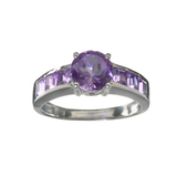 APP: 0.3k Fine Jewelry 2.15CT Purple Amethyst And Sterling Silver Ring