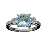 APP: 0.9k Fine Jewelry 3.00CT Mixed Cut Blue Topaz And Platinum Over Sterling Silver Ring