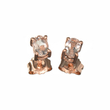 APP: 0.6k Fine Jewelry 0.90CT Oval Cut Morganite Over Rose Gold Sterling Silver Earrings