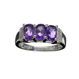 APP: 1k Fine Jewelry 1.72CT Purple Amethyst Quartz And Platinum Over Sterling Silver Ring