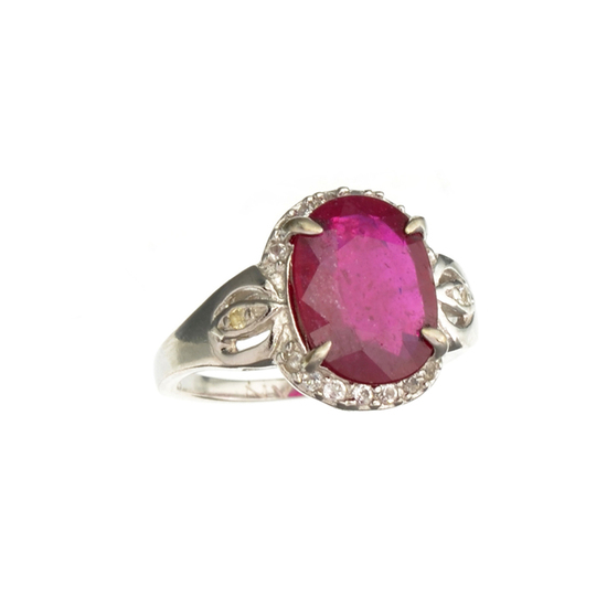 Fine Jewelry Designer Sebastian 4.41CT Ruby And Colorless Topaz Platinum Over Sterling Silver Ring