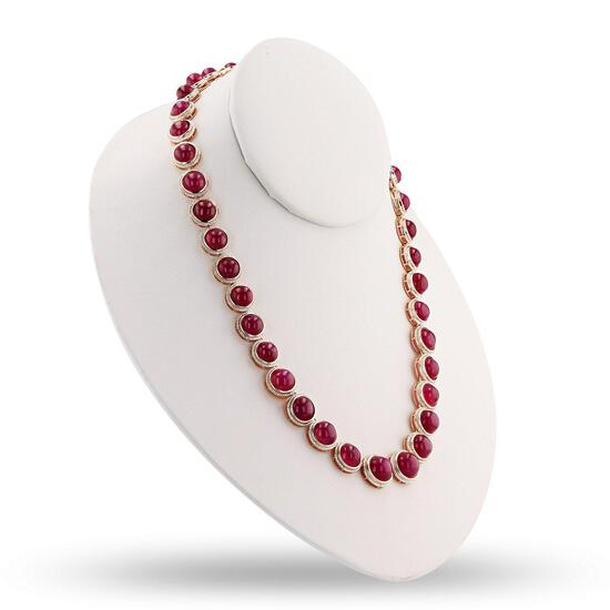 APP: 11.8k 132.71ctw Ruby and 0.28ctw Diamond Silver Necklace (Vault_R10_31302)
