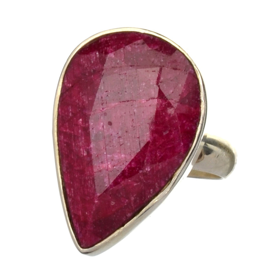 APP: 2.4k 16.57CT Pear Cut Ruby And Sterling Silver Ring