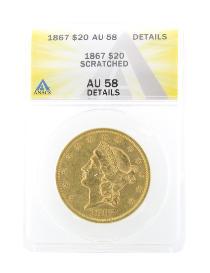 *Extremely Rare 1867 $20 U.S. Liberty Head Gold Coin (DF)