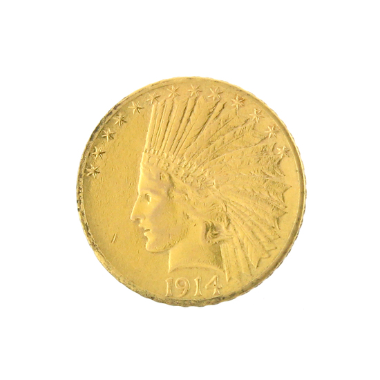*Extremely Rare 1914-D $10 U.S. Indian Head Gold Coin (DF)
