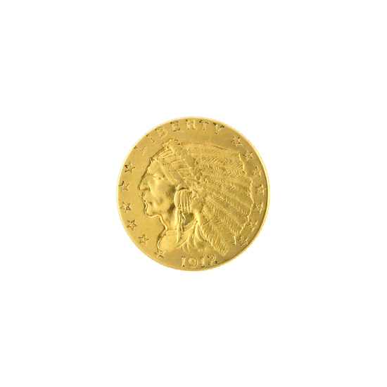 *Extremely Rare 1912 $2.5 U.S. Indian Head Gold Coin (DF)