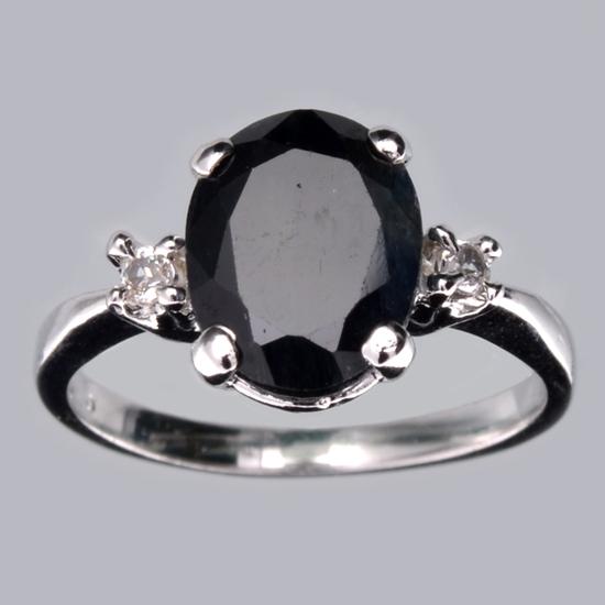 Fine Jewelry Designer Sebastian 2.60CT Blue Sapphire And Topaz  Platinum Over Sterling Silver Ring