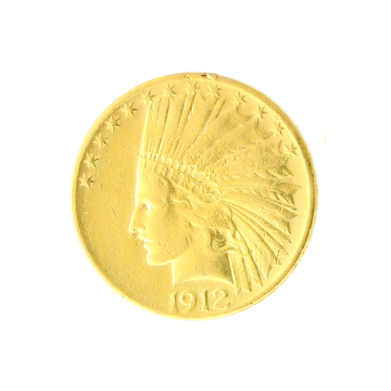 Extremely Rare  1912 $10 U.S. Indian Head Gold Coin - Great Investment