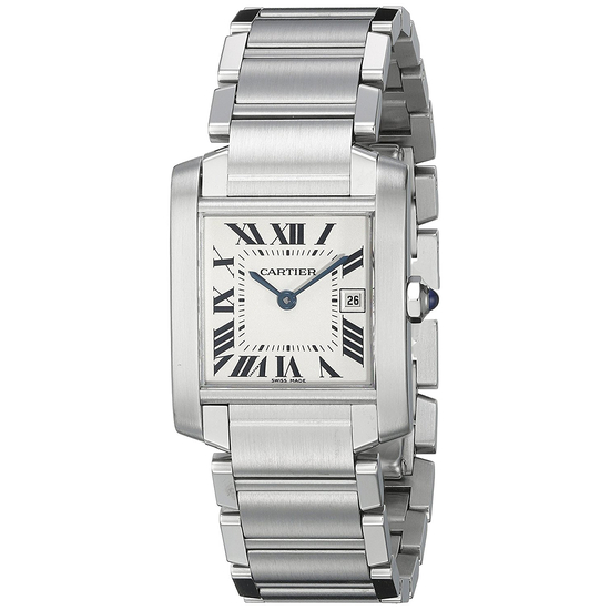 *Cartier Women's Tank Square Stainless Steel Case Silver Dial Sapphire Push Screw-in Crown Swiss Qua