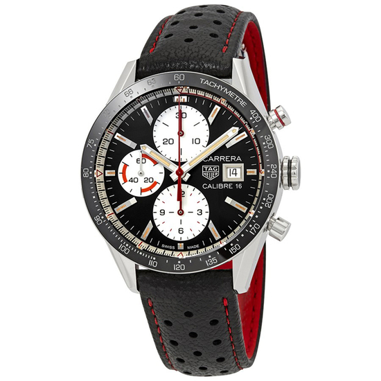 *Tag Heuer Men's Carrera Round Stainless Steel Case Black Dial Sapphire Push/Pull Crown Automatic Mo