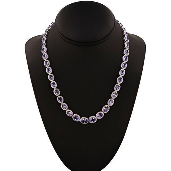 APP: 48.3k 32.27ctw Tanzanite and 7.56ctw Diamond 14KT.T White Gold Necklace (Vault_R10_15012)