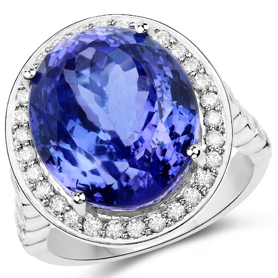 APP: 55.6k *18KT. White Gold 18.50 Oval Cut Tanzanite and White Diamond Ring (Vault_Q) (QR23436TANWD