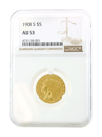 *Extremely Rare 1908-S $5 U.S. Indian Head Gold Coin (DF)