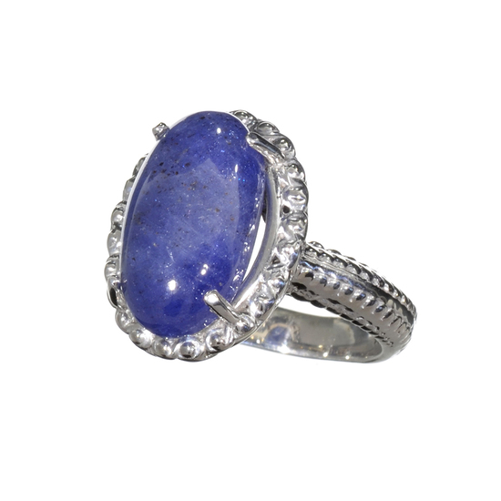 Fine Jewelry 9.75CT Oval Cut Cabochon Violet Blue Tanzanite And Platinum Over Sterling Silver Ring