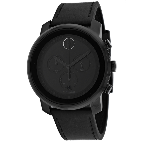 *Movado Men's Bold Round Stainless Steel Case Black Dial Mineral Push/Pull Crown Quartz Movement Wat