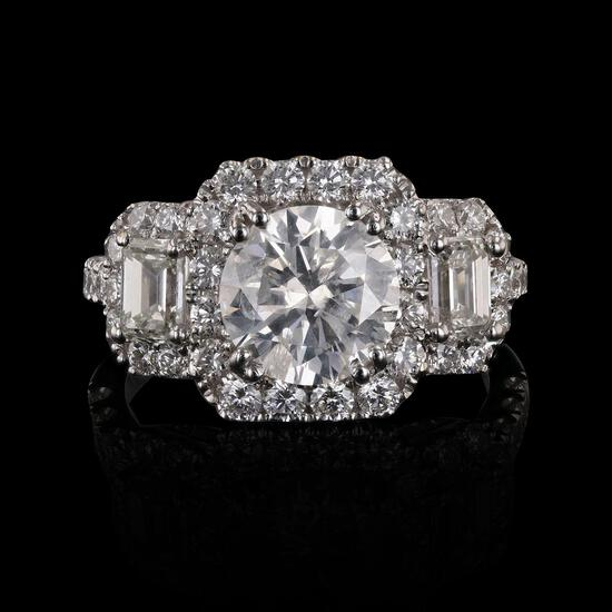 APP: 40.1k 2.03ct CENTER Diamond 18KT. White Gold Ring (3.81ctw Diamonds) (Vault_R10_15067)