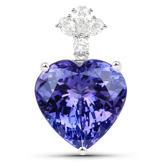 APP: 58.4k *18KT. White Gold 19.30 Heart Cut Tanzanite and White Diamond Pendant (Vault_Q) (QP9734TA