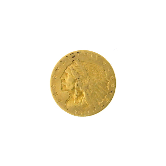 *Extremely Rare 1911 $2.5 U.S. Indian Head Gold Coin (DF)