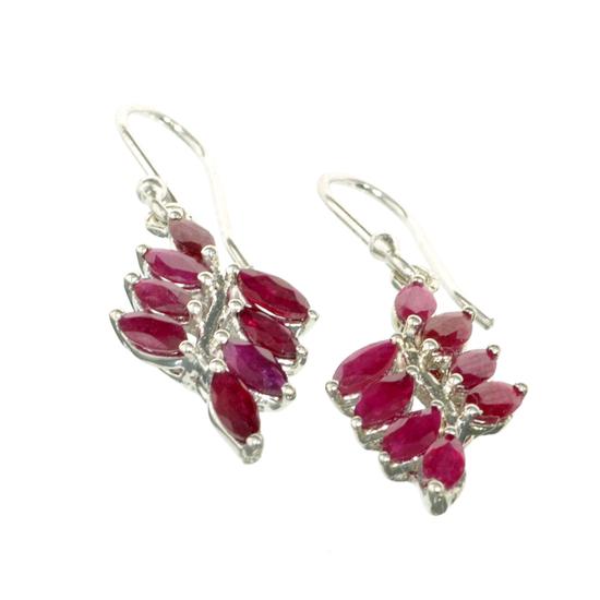 APP: 2.1k Fine Jewelry Designer Sebastian 2.50CT Marquise Cut Ruby And Sterling Silver Earrings