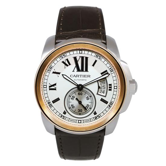 *Cartier Men's Calibre Round Stainless Steel Case White Dial Sapphire Push/Pull Crown Swiss Quartz M