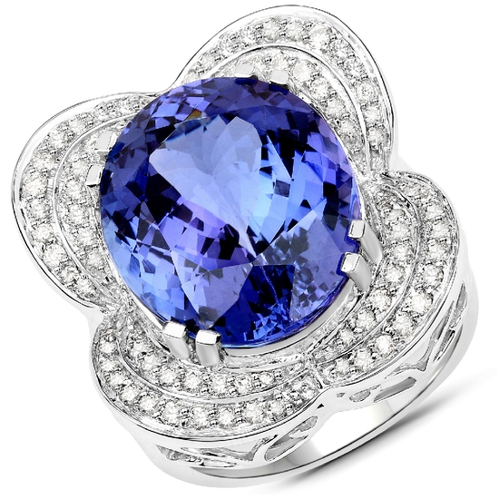 APP: 60.6k *18KT. White Gold 18.99 Oval Cut Tanzanite and White Diamond Ring (Vault_Q) (QR23403TANWD