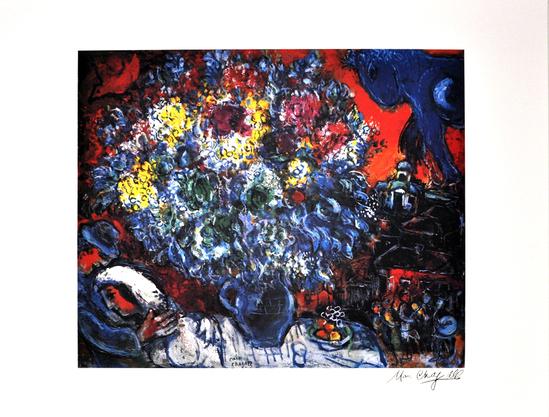 MARC CHAGALL (After) Bouquet de Fleurs et Amants Print, 269 of 500