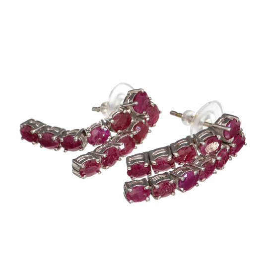 APP: 2.3k Fine Jewelry 3.43CT Oval Cut Ruby And Platinum Over Sterling Silver Earrings
